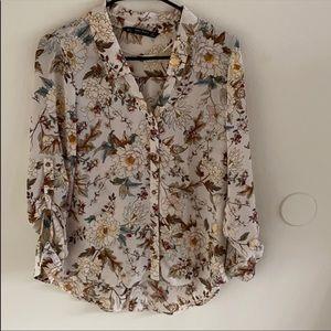 Zara • Floral Split Back Blouse